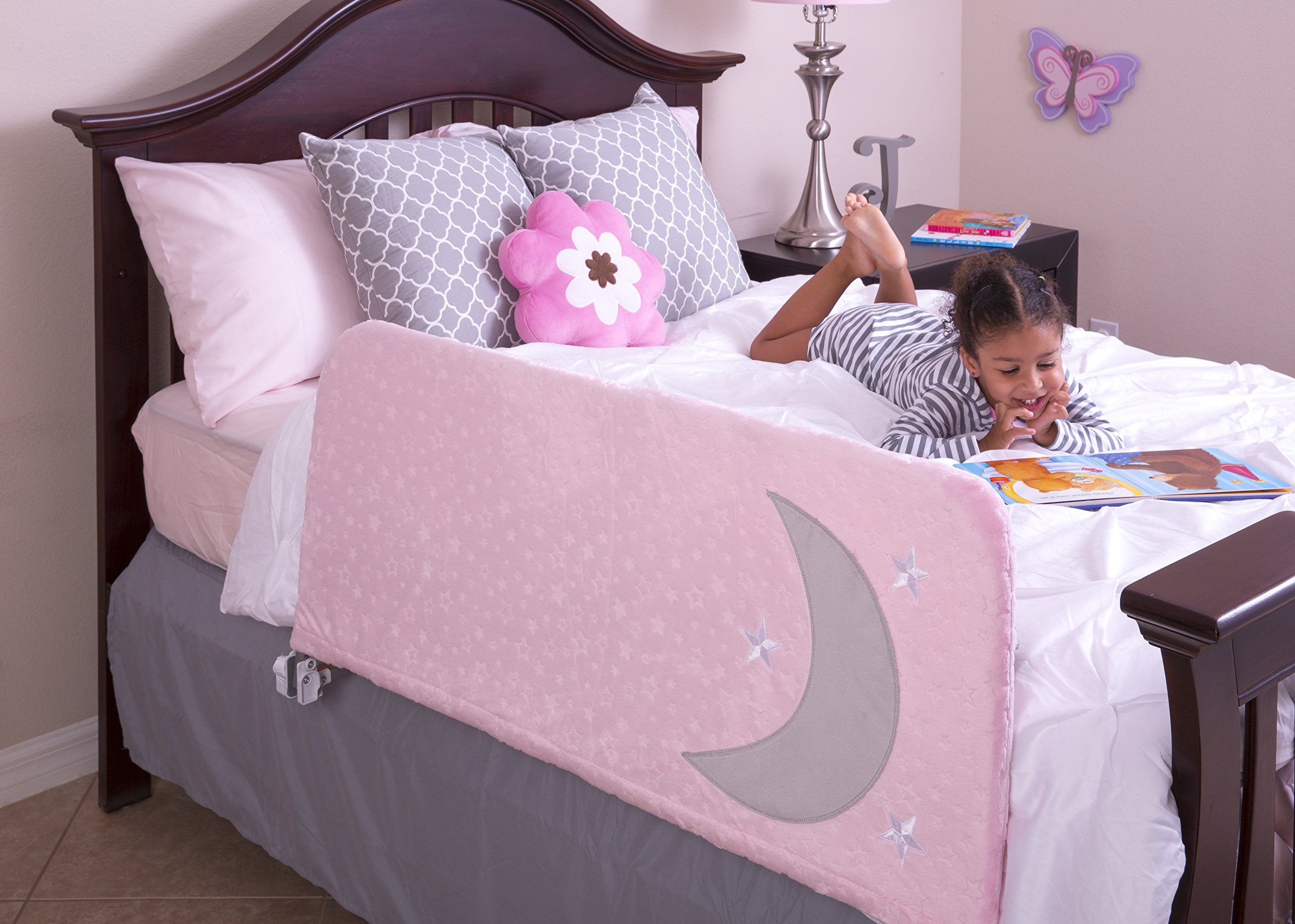 Cosie Covers l Bedrail Cover for Toddlers and Kids Guardrails | with Inside Pocket for Toys and Books - Enhances Appearance of Portable Child Safety Side Rails (Twinkle Pink, Large)