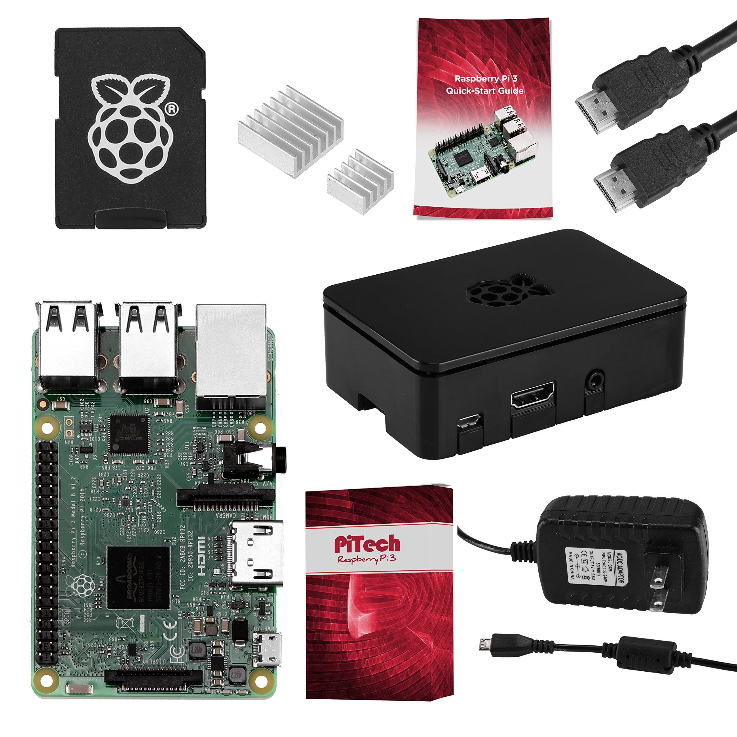 Raspberry Pi 3 COMPLETE Starter Kit, Black, 16GB Edition - Pi3 Model B Barebones Computer Motherboard 64bit Quad-Core CPU 1GB RAM, Black Pi3 Case, 2.5A Power Supply, 6FT HDMI Cable, 2 Heat Sink by NeeGo