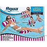 AQUA AQL12674S2 4-in-1 Monterey Hammock Inflatable Pool Float, Multi-Purpose Pool Hammock (Saddle, Lounge Chair, Hammock…