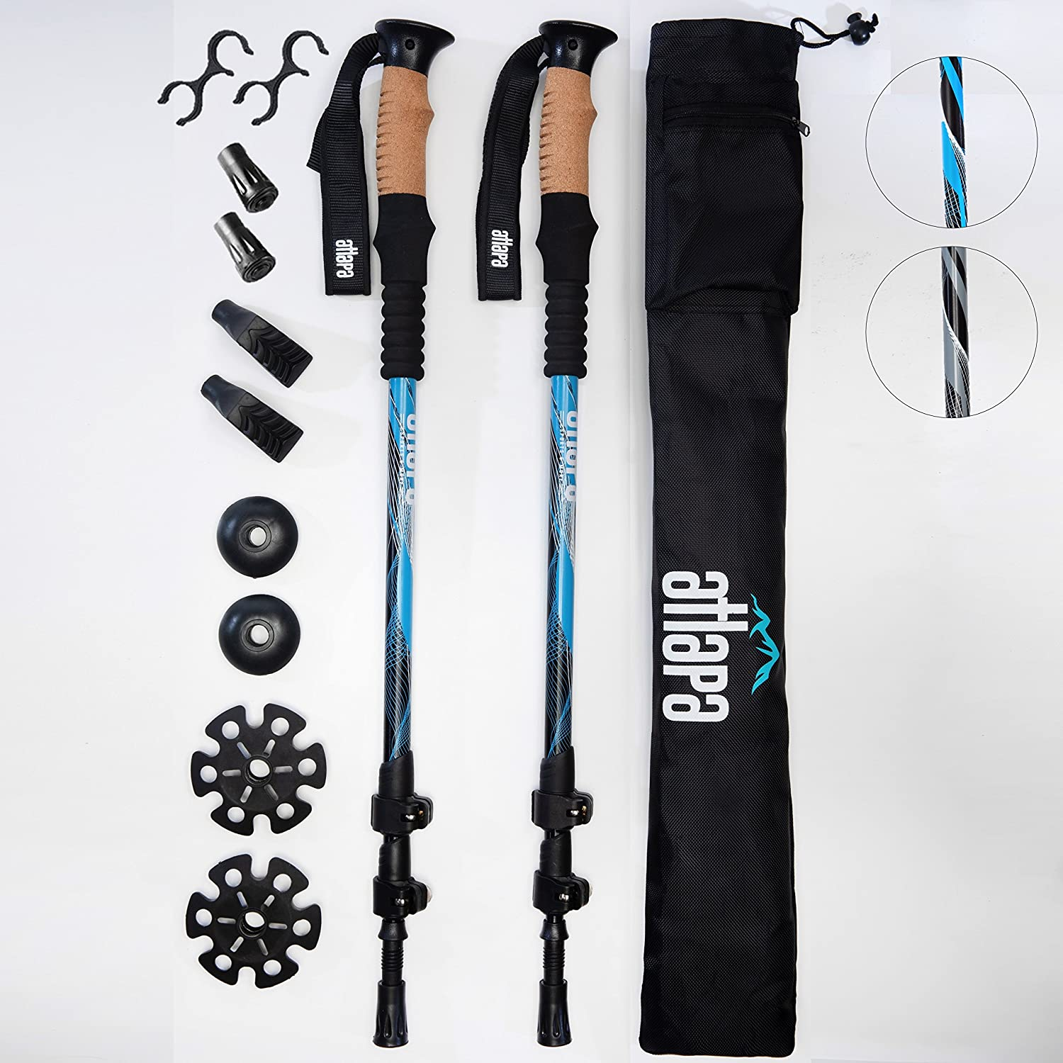 Atlapa Sports Grey Trekking Poles with Cork Grips 2 pcs of Strong Adjustable Flip Lock Lightweight 7075 Aluminum Collapsible Cork Trekking Pole for Hiking Trekking Hunting Includes Tips and Bag