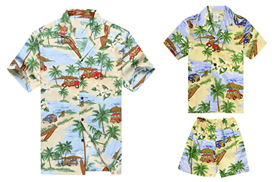 9ce30968 Made in Hawaii Matching Father Son Shirts Cabana Set in Vintage Cars  Surfboards in Blue S