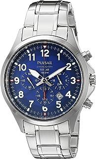 2aebc26a9 Pulsar Men's PX5037 Solar Chronograph Analog Display Japanese Quartz Silver  Watch