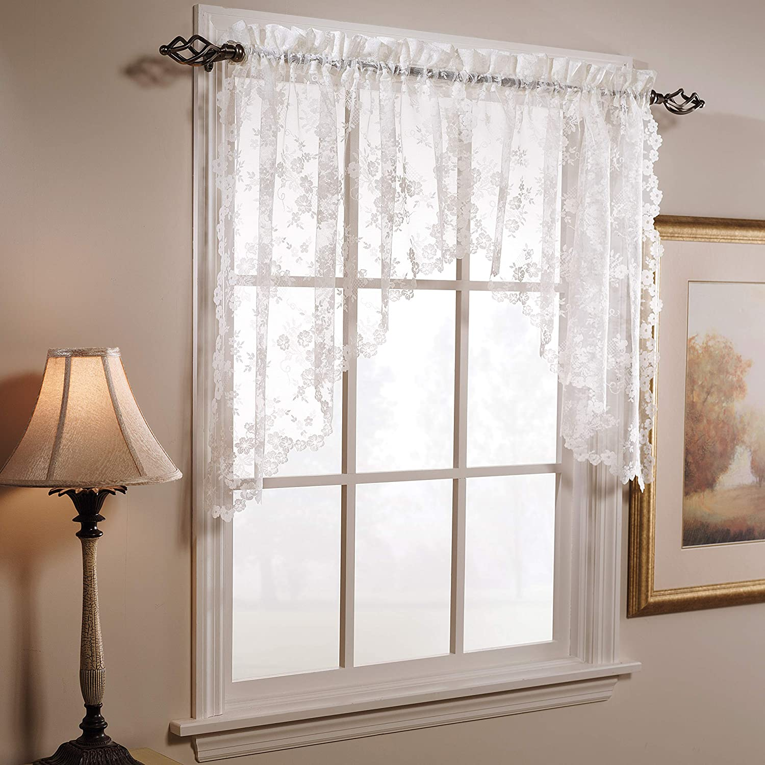 SKL Home by Saturday Knight Ltd. Petite Fleur Swag Valance Pair, White, 78 inches x 30 inches