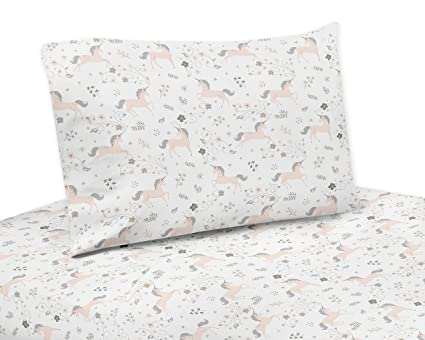 Amazoncom Sweet Jojo Designs Pink Grey And Gold Twin Sheet