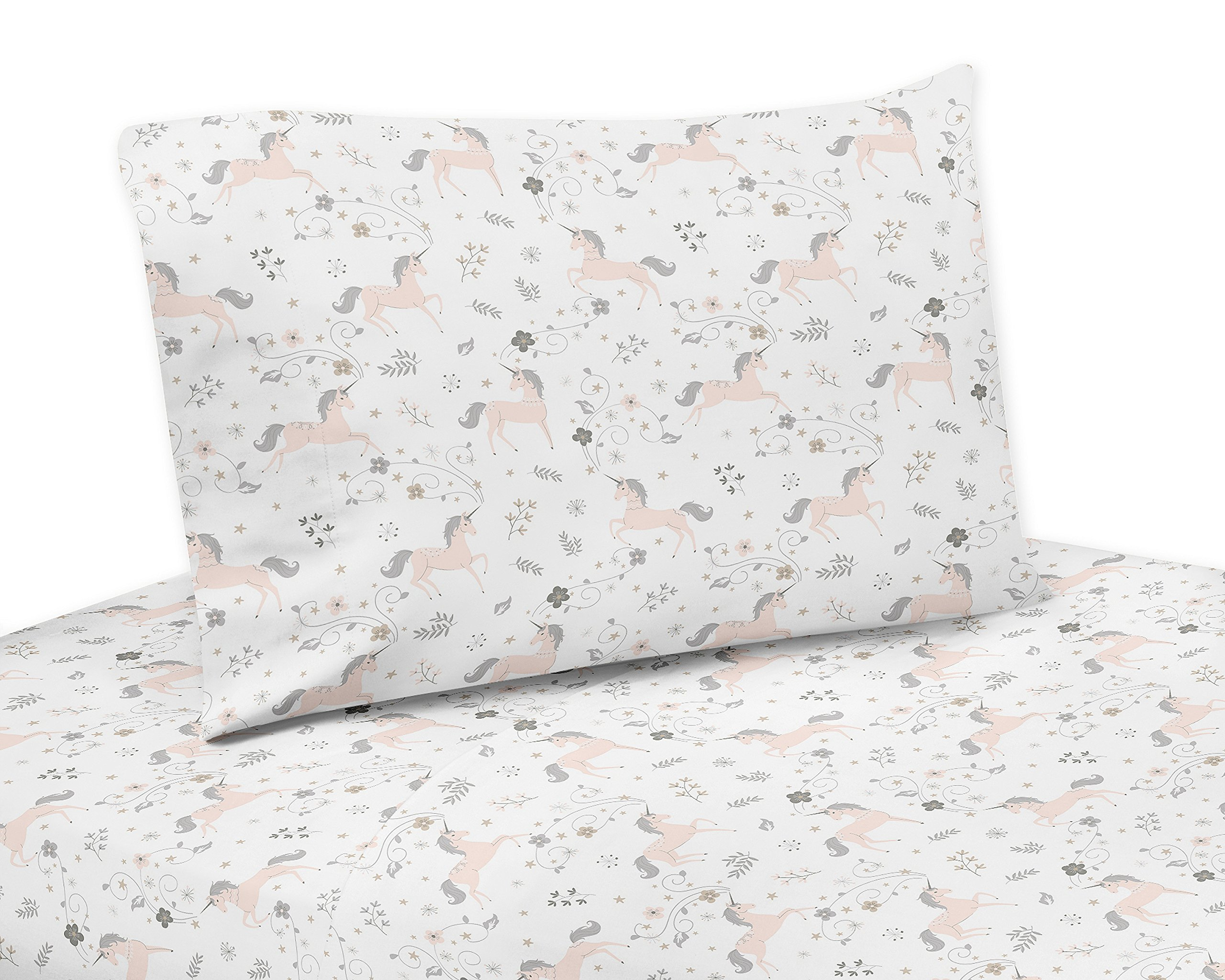 Sweet Jojo Designs Pink, Grey and Gold Twin Sheet Unicorn Collection-3 Piece Set