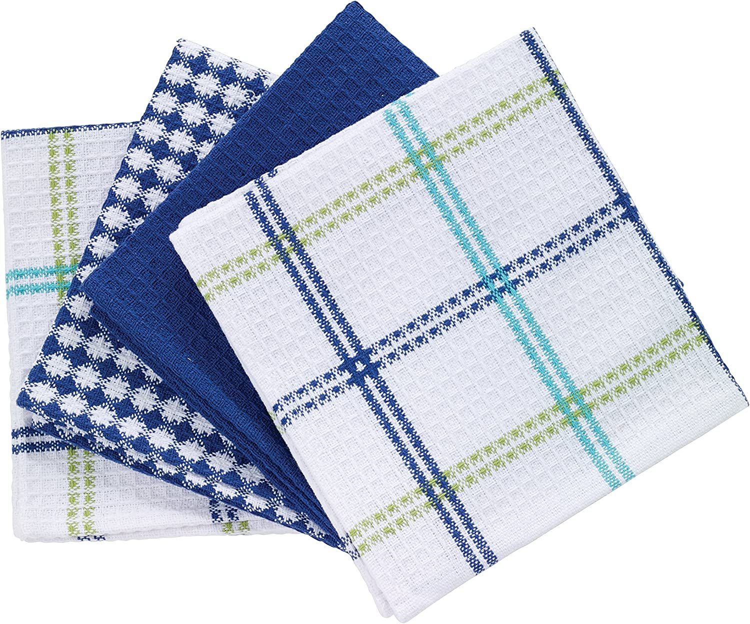 T-fal Textiles 24397 4-Pack Cotton Flat Waffle Dish Cloth, Cool, 4 Pack