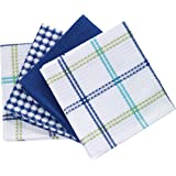 "T-Fal Textiles 100% Cotton Waffle Weave Kitchen Dish Cloths, 12"" x 13"", Set of 4 Designs, Cool"