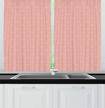amazon com ambesonne peach kitchen curtains abstract background