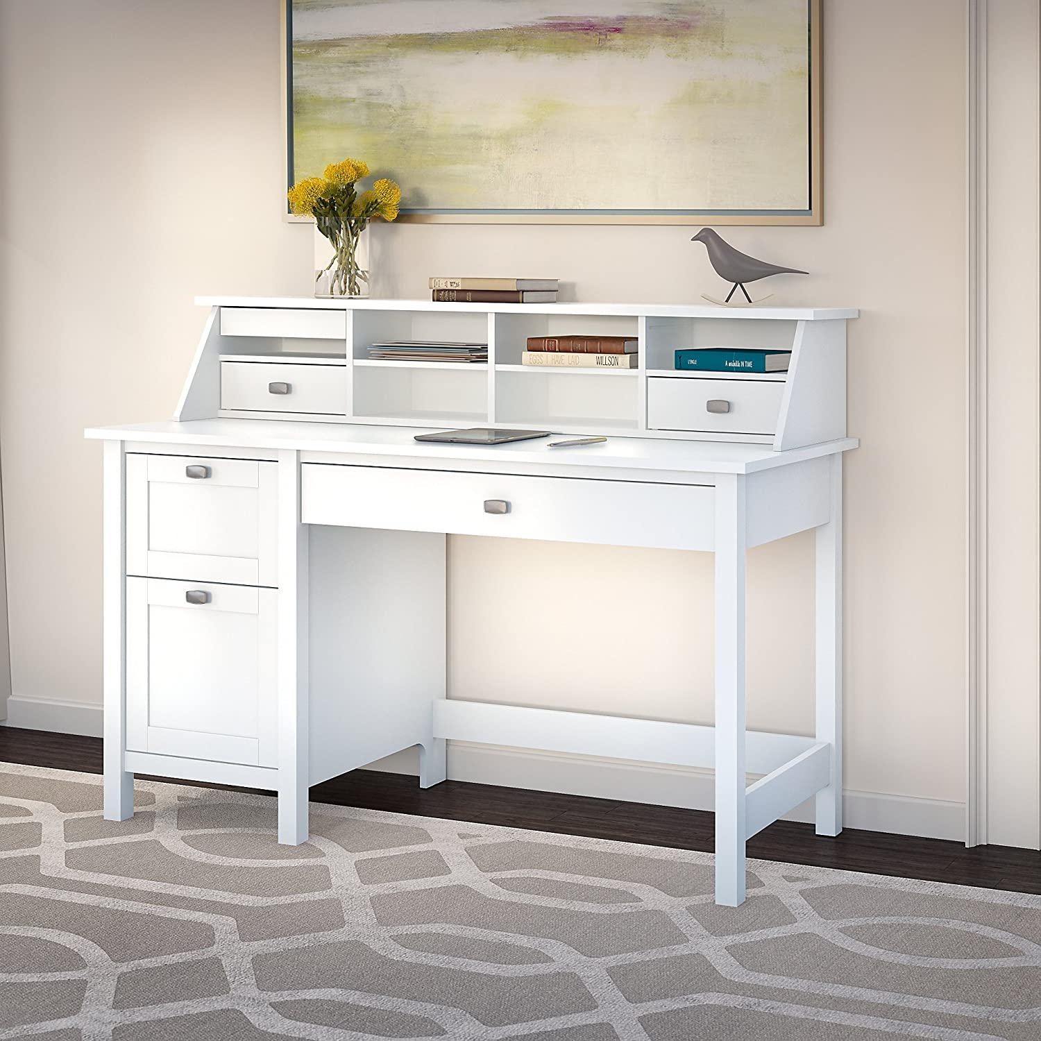 Awesome Broadview Pure White Desk With Drawers And Organizer Home Interior And Landscaping Dextoversignezvosmurscom