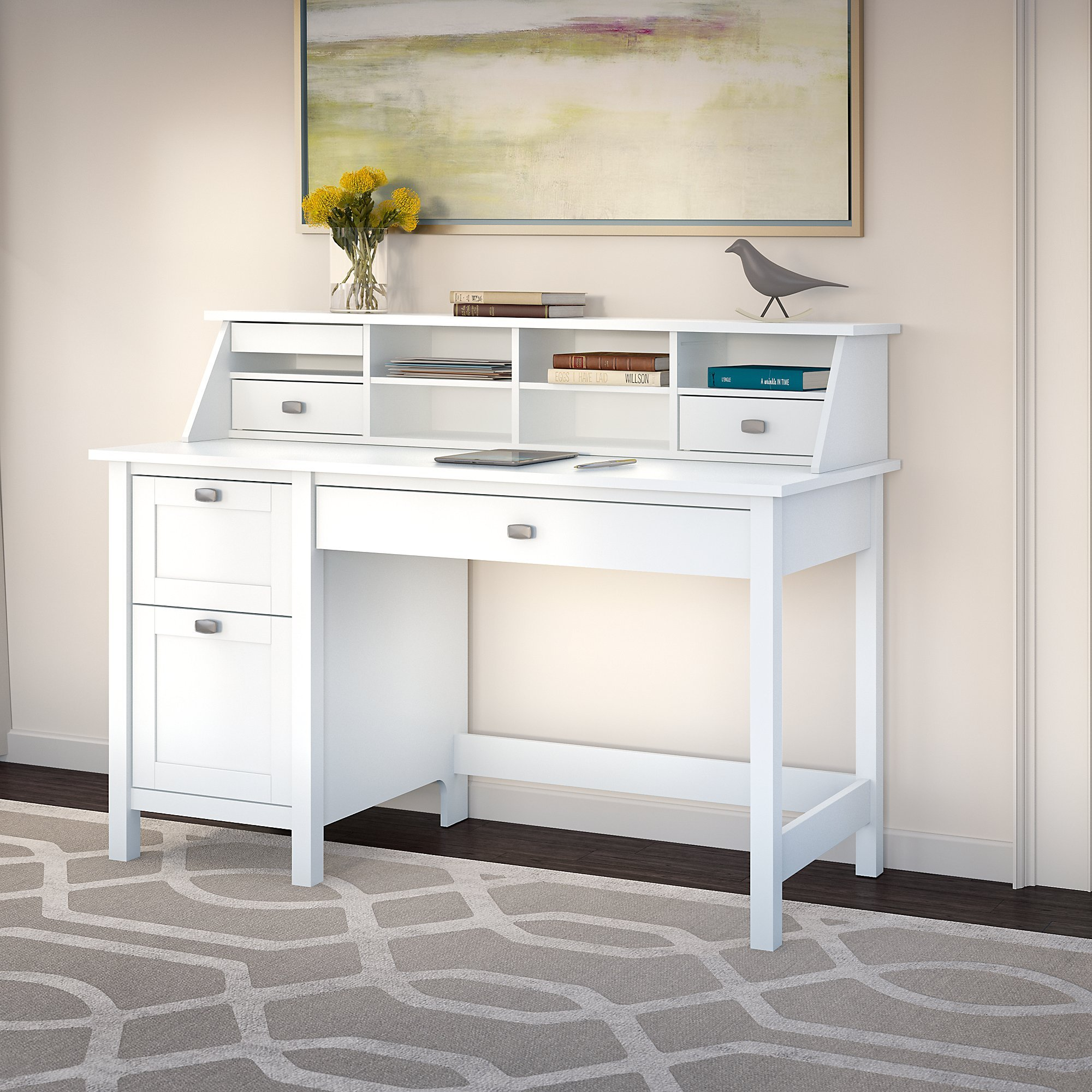 Broadview Pure White Desk with Drawers and Organizer