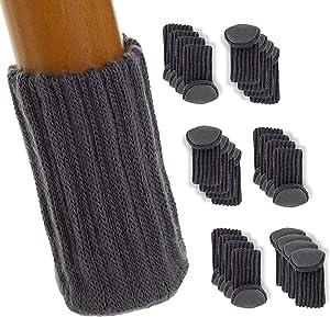 Floor HERO Chair Socks, 24 Pack | The Un-Holey, Firm-Grippy, Near-Silent Felt Padded Floor Protector Socks | for Chairs & Legs Diameter 3/4