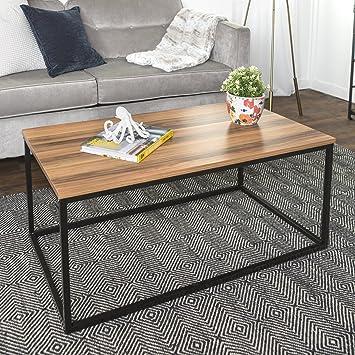 Material Coffee Table.Walker Edison Furniture Mixed Material Coffee Table Metal Teak 42 Inch