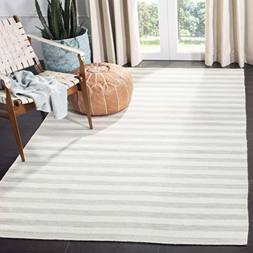Safavieh Dhurries Collection DHU575G Hand Woven Light Blue and Ivory Premium Wool Area Rug 6 x 9