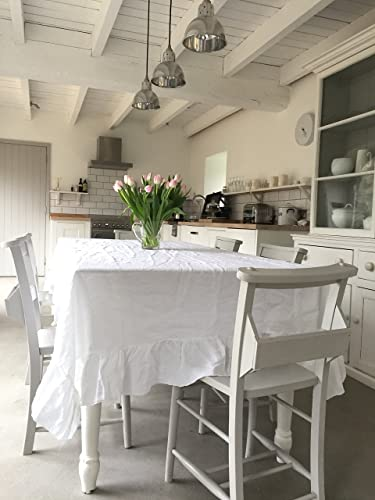 Handmade Shabby Chic White Linen Tablecloth
