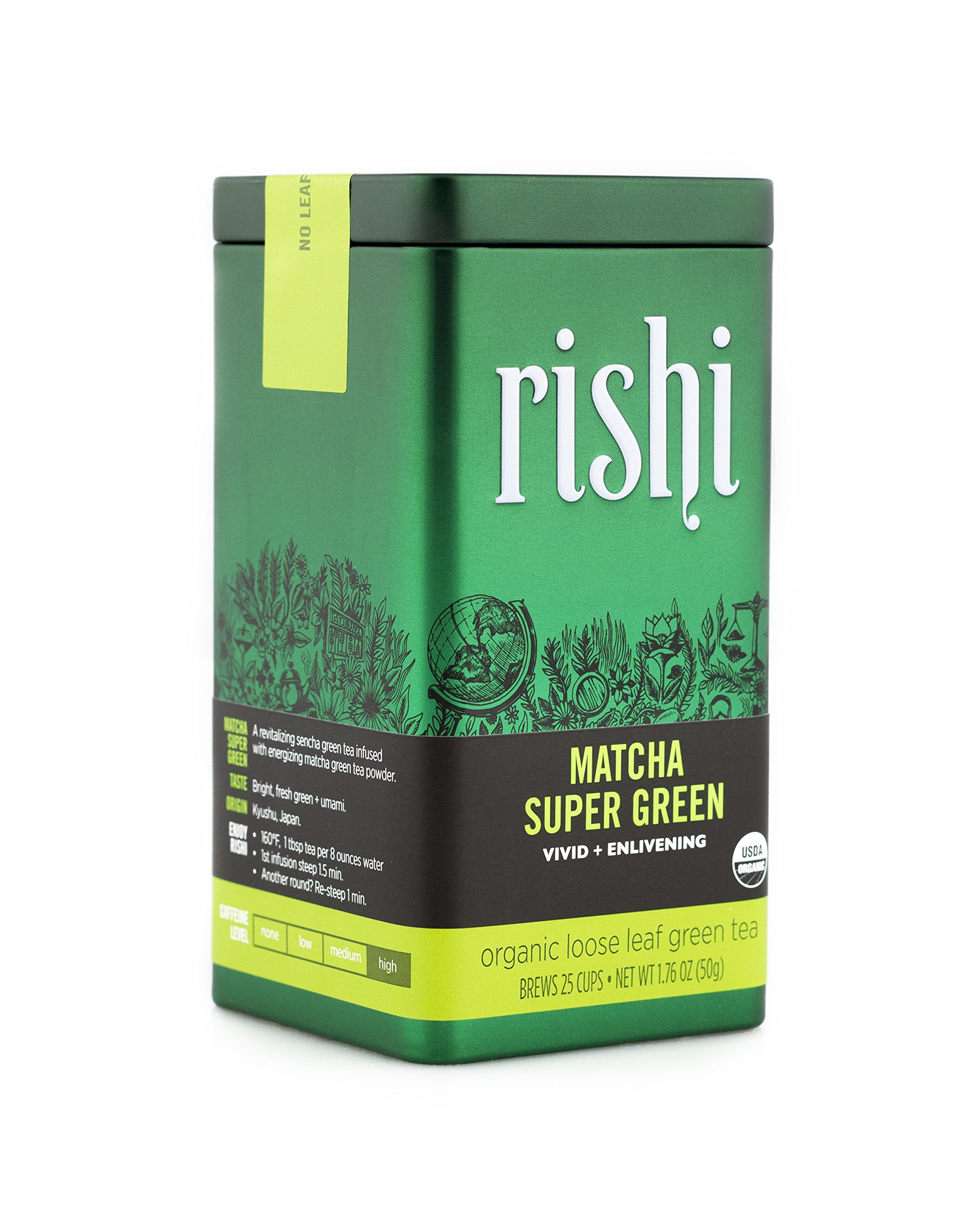 Rishi Matcha Super Green Tea, Organic Loose Leaf Tea, 1.76 Oz Tin