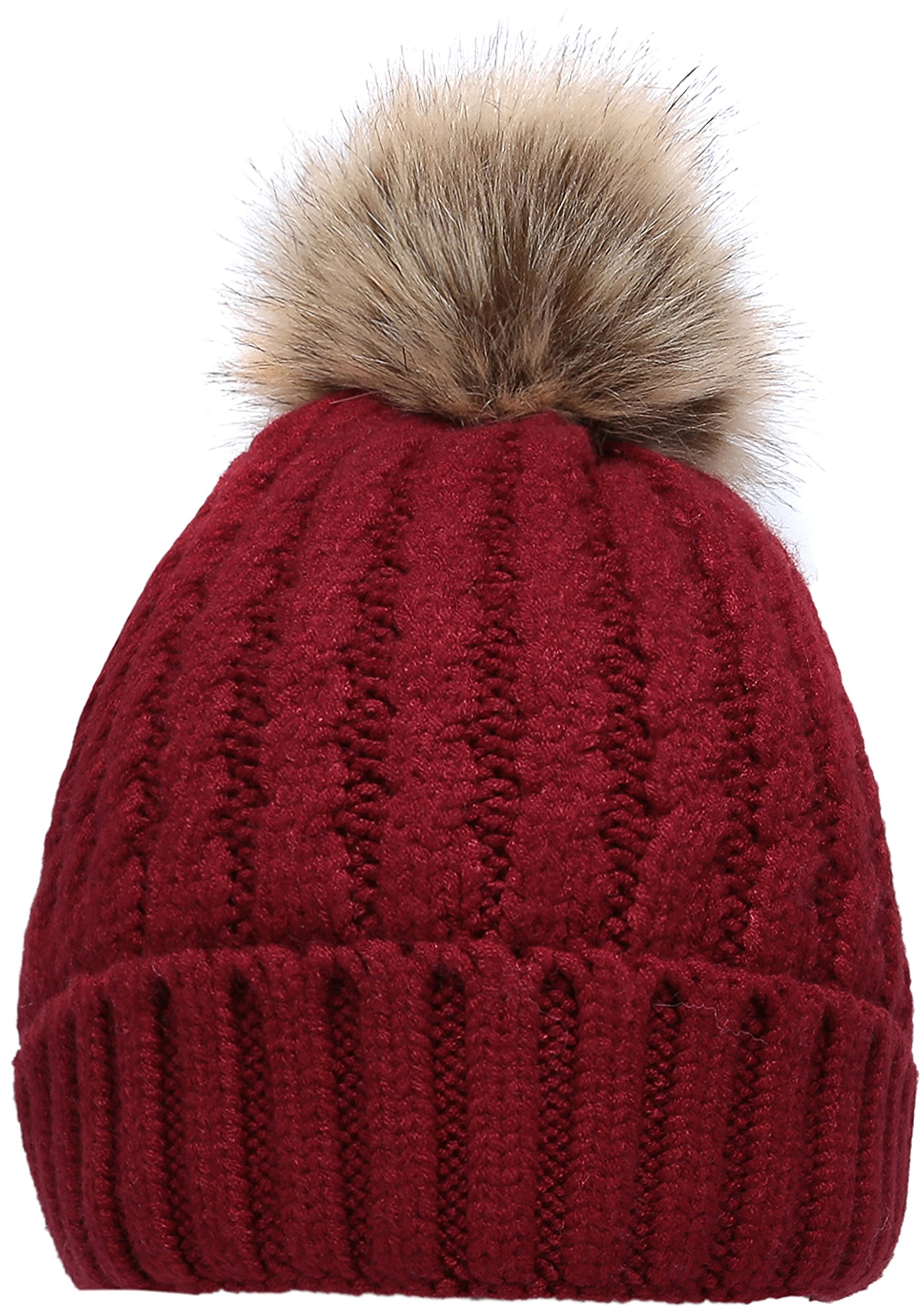 NEOSAN Women's Winter Ribbed Knit Faux Fur Pompoms Chunky Lined Beanie Hats Rope Burgundy