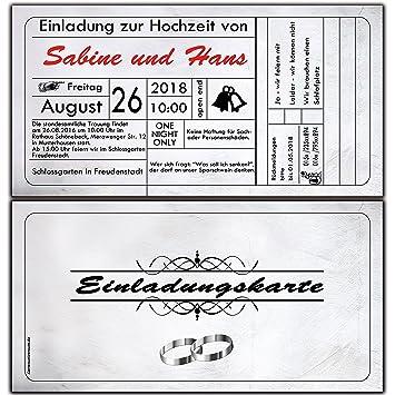 Einladungskarten Hochzeit Eintrittskarte Hochzeitseinladung Einladung  Vintage Ticket   40 Stück