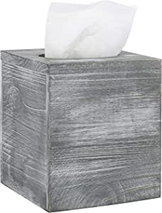 MyGift Vintage Graywashed Wood Square Tissue Box Cover with Slide-Out Bottom Panel