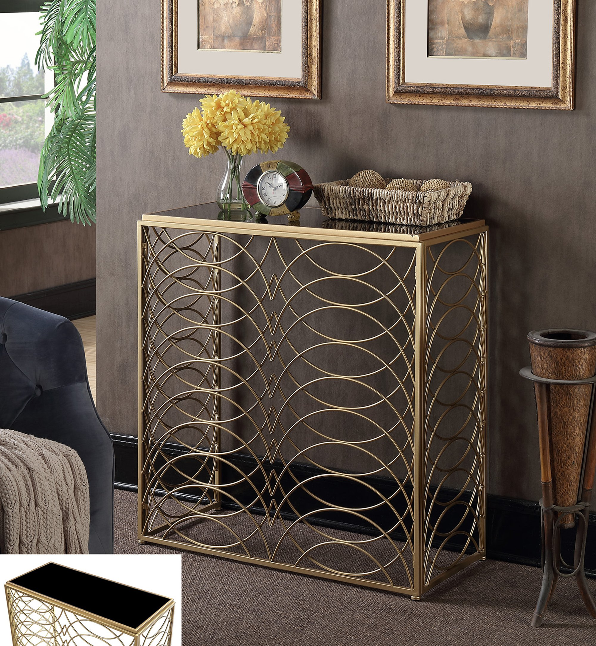Convenience Concepts Gold Coast Tranquility Console Table, Gold / Black Glass - Gold Coast collection Available in multiple finishes Intricate scroll work - living-room-furniture, living-room, end-tables - 91I2CGADOlL -