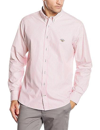 Spagnolo Popelin 0025, Camisa para Hombre, Raya Rosa y Blanco, 01 ...