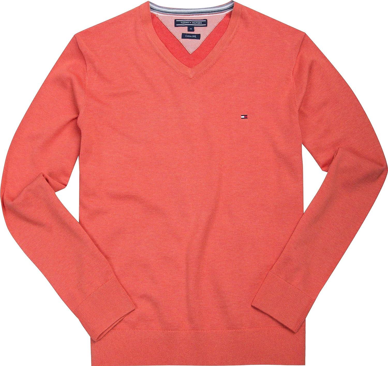 TALLA S. Tommy Hilfiger Plaited CTN Silk V-NK CF suéter, Rojo (Hot Coral Htr), Small para Hombre