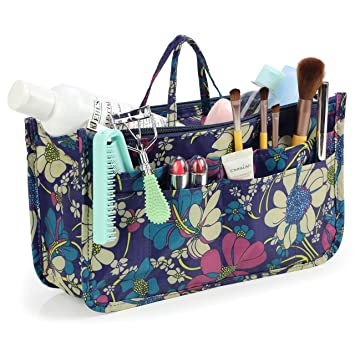 96faef43b713 Amazon.com   Cosmetic Bag for Women Cute Printing 14 Pockets Expandable  Makeup Organizer Purse with Handles (Blue Flower)   Beauty