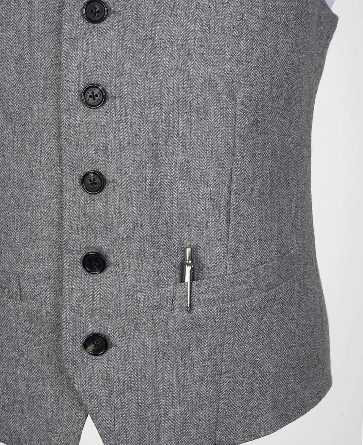 Ruth/&Boaz 2Pockets 5Buttons Wool Tweed Business Suit Vest