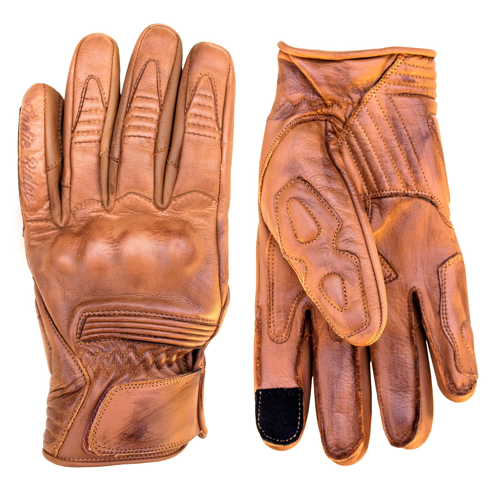 Premium Leather Motorcycle Gloves (Camel) Cool, Comfortable Riding Protection, Cafe Racer, Half Gauntlet