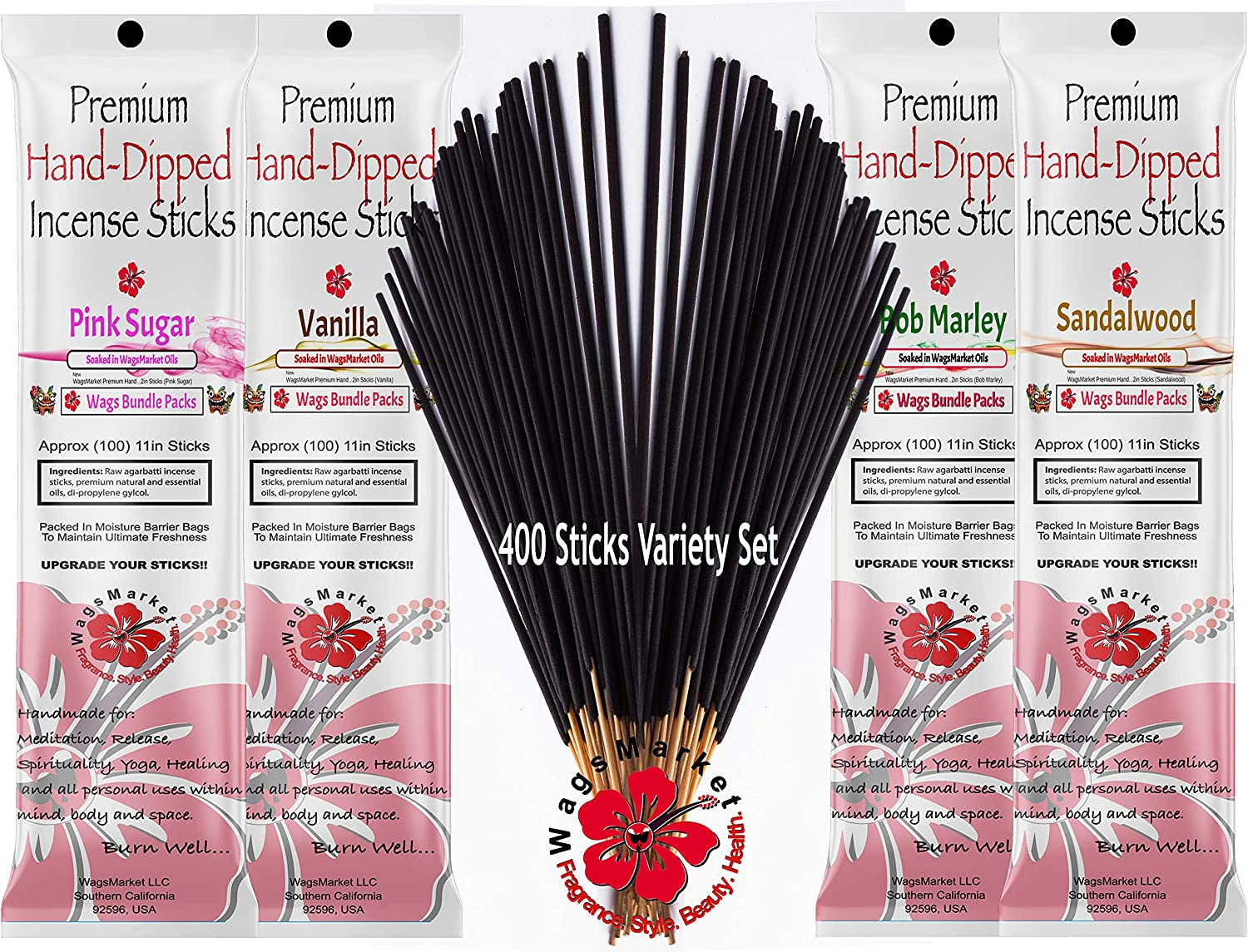 WagsMarket Premium Hand Dipped Incense Sticks, 400 Stick Variety Bundle Packs (The Cool Bunch)