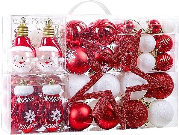 Victors Workshop 100Pcs Bolas de Navidad Set, Adornos de Navidad para Arbol, Decoración de Bolas de Navideños Inastillable Plástico de Rojo y Blanco, Regalos de Colgantes de Navidad (Oh Ciervo): Amazon.es: Hogar