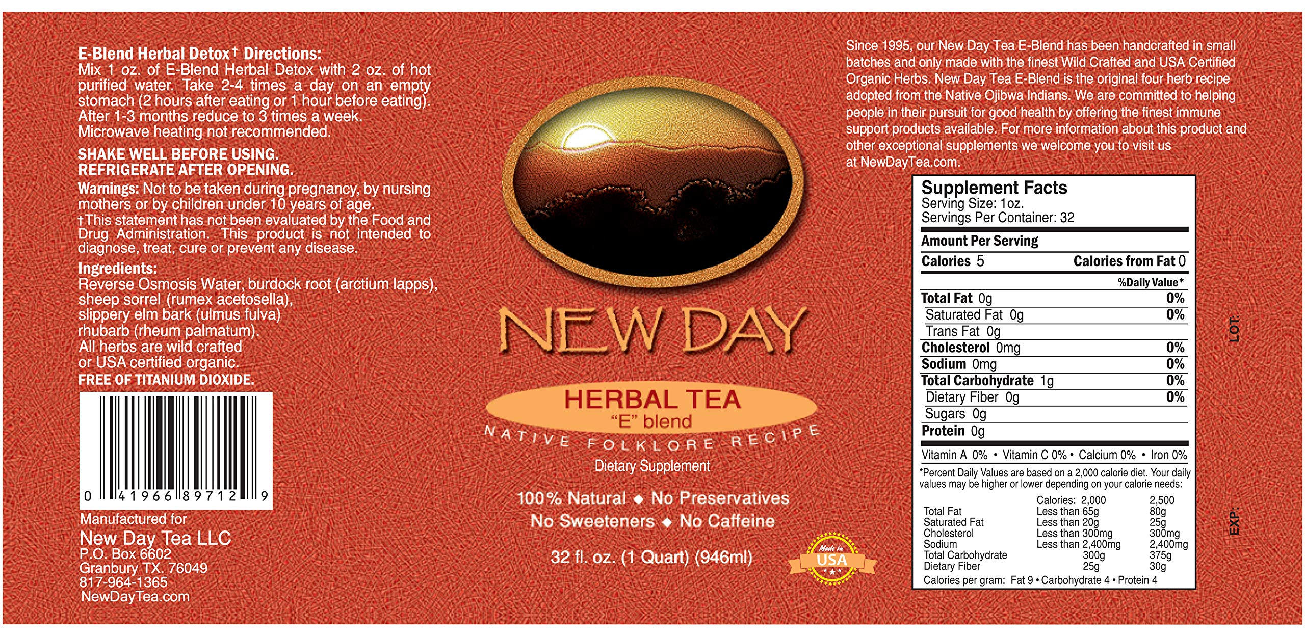 Essiac Tea, 32 Ounce Extract | Immune System, Liver and Lymphatic Support | Based on Original Recipe and Made in the USA | Certified Organic and Wild Crafted Herbs | No Alcohol and Easy Preparation by New Day Health (Image #8)
