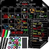 Magnetic Dry Erase Chalkboard Calendar Set for Refrigerator by Kiamyah - Includes Large Monthly Planner Board, Small Grocery/to do List Organizer, 3 Top Quality Markers, 24 Fridge Magnets, Big Eraser