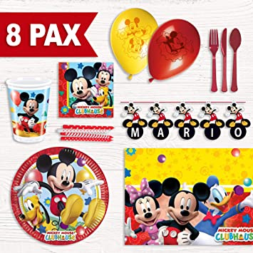 Party Fiesta Pack cumpleaños Mickey Mouse para 8 Personas: Amazon ...
