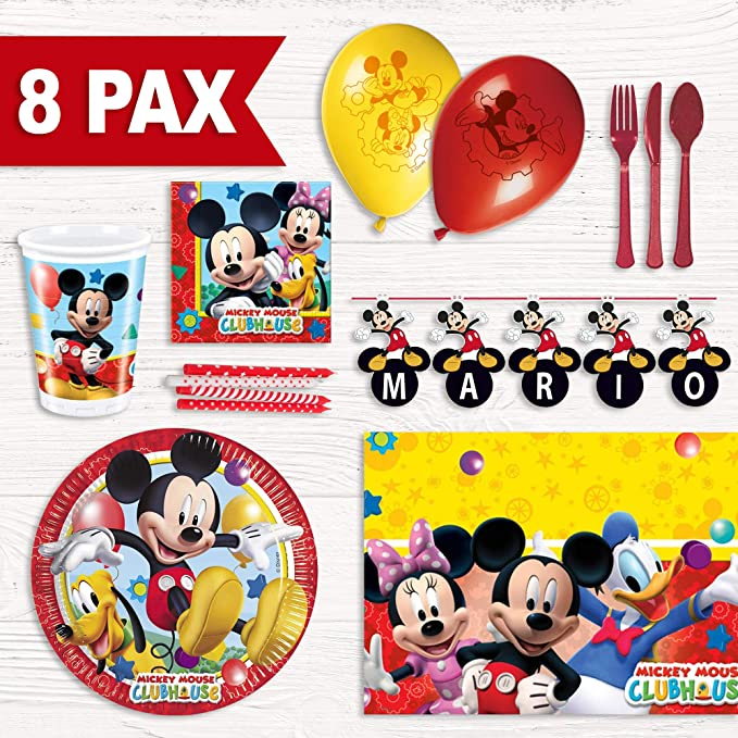 Party Fiesta Pack cumpleaños Mickey Mouse para 8 Personas ...