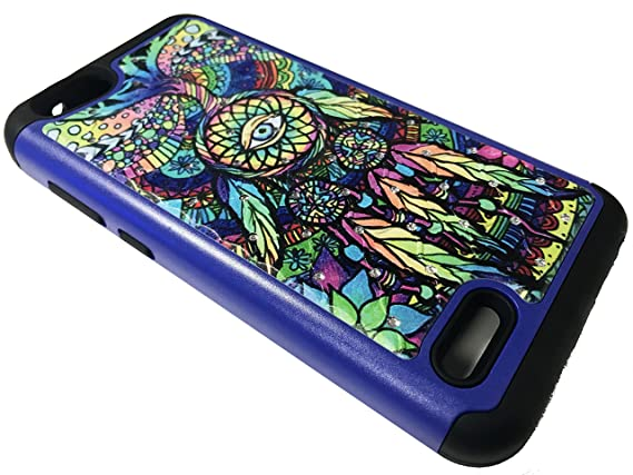 For ZTE ZFive G / C Z557BL Z558VL Sparkle Bling Hybrid Protective Case  Phone Cover + Gift Stand (Sparkle Color Dream Catcher)