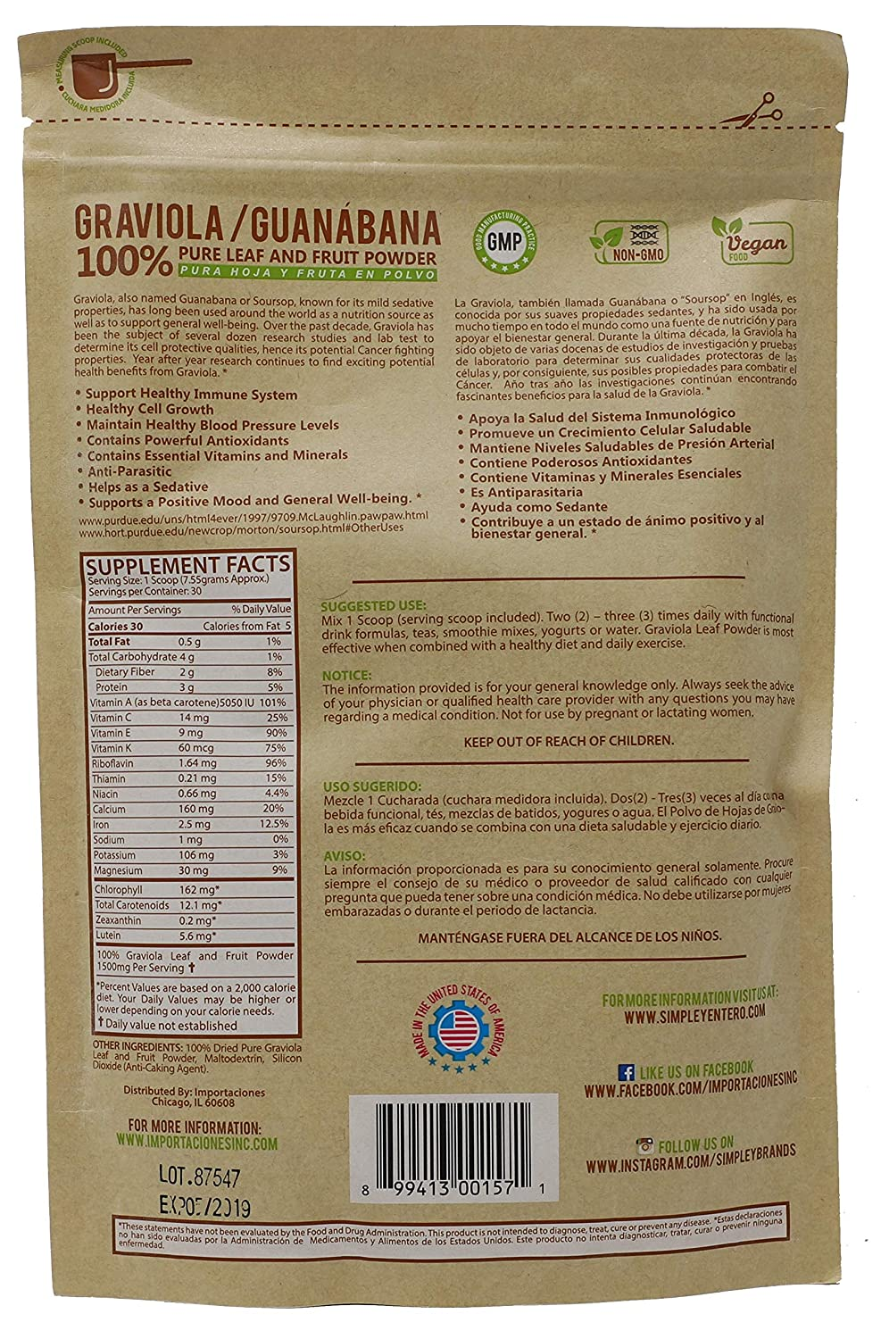 Amazon.com: Graviola Guanabana Powder Mix | 100% Pure Leaf and Soursop Fruit Powder to Support Healthy Immune System, GMP Certified, Non-GMO, Vegan, ...