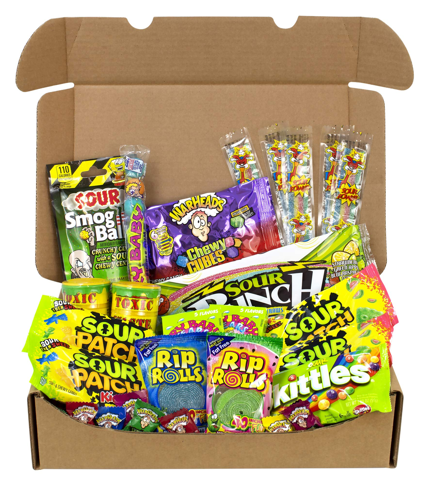 The Ultimate Variety Sour Box - 30 Piece Assortment Of The Worlds Most Sour Candy by Cyber Sweetz