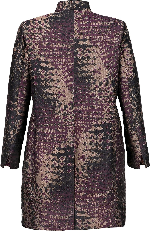 Ulla Popken Womens Plus Size Mandarin Collar Jacquard Jacket 717535
