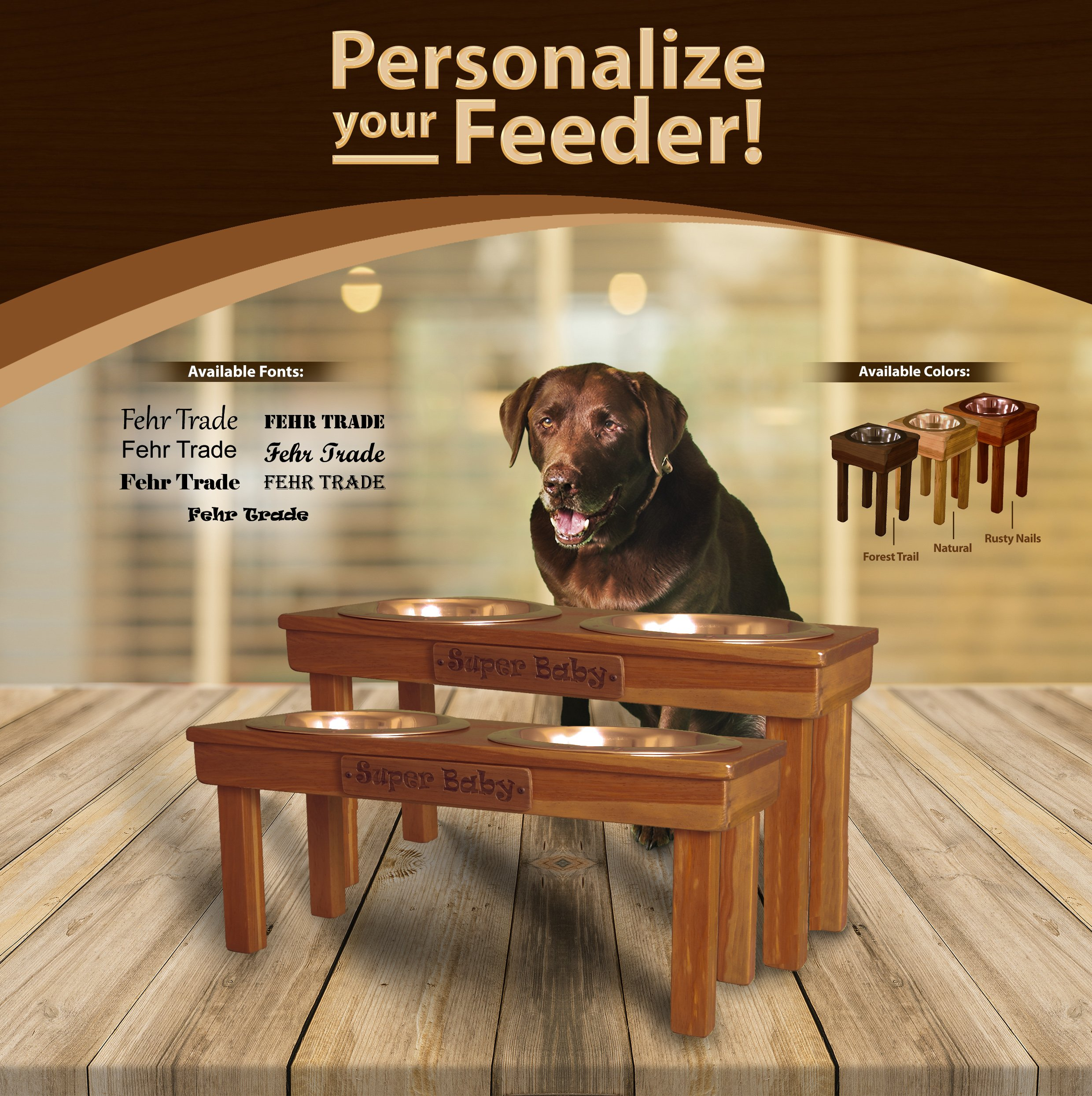 Personalized Nameplate for any Large, Medium or Universal size pet feeders from Ozarks Fehr Trade Originals