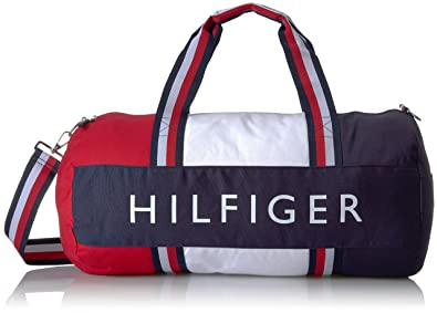 7508fedd Tommy Hilfiger Patriot Leather Navy,Red and White Duffle Bag: Amazon ...