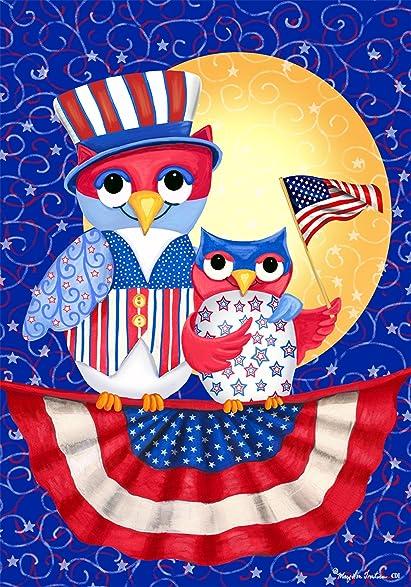 patriotic owl star american flag moon house flag 28 x 40