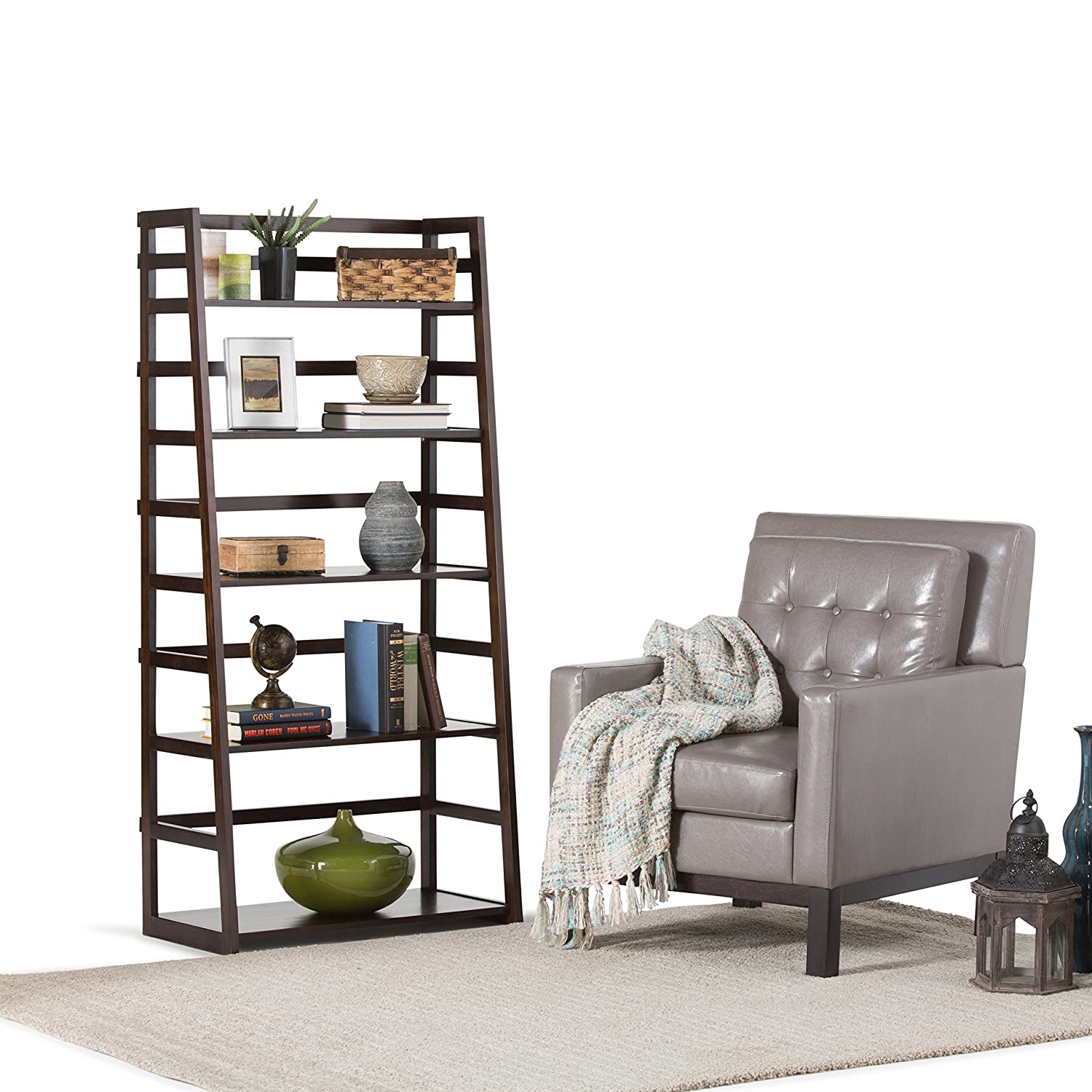 Simpli Home Acadian Collection Ladder Shelf Bookcase, Rich Tobacco Brown:  Amazon: Home & Kitchen