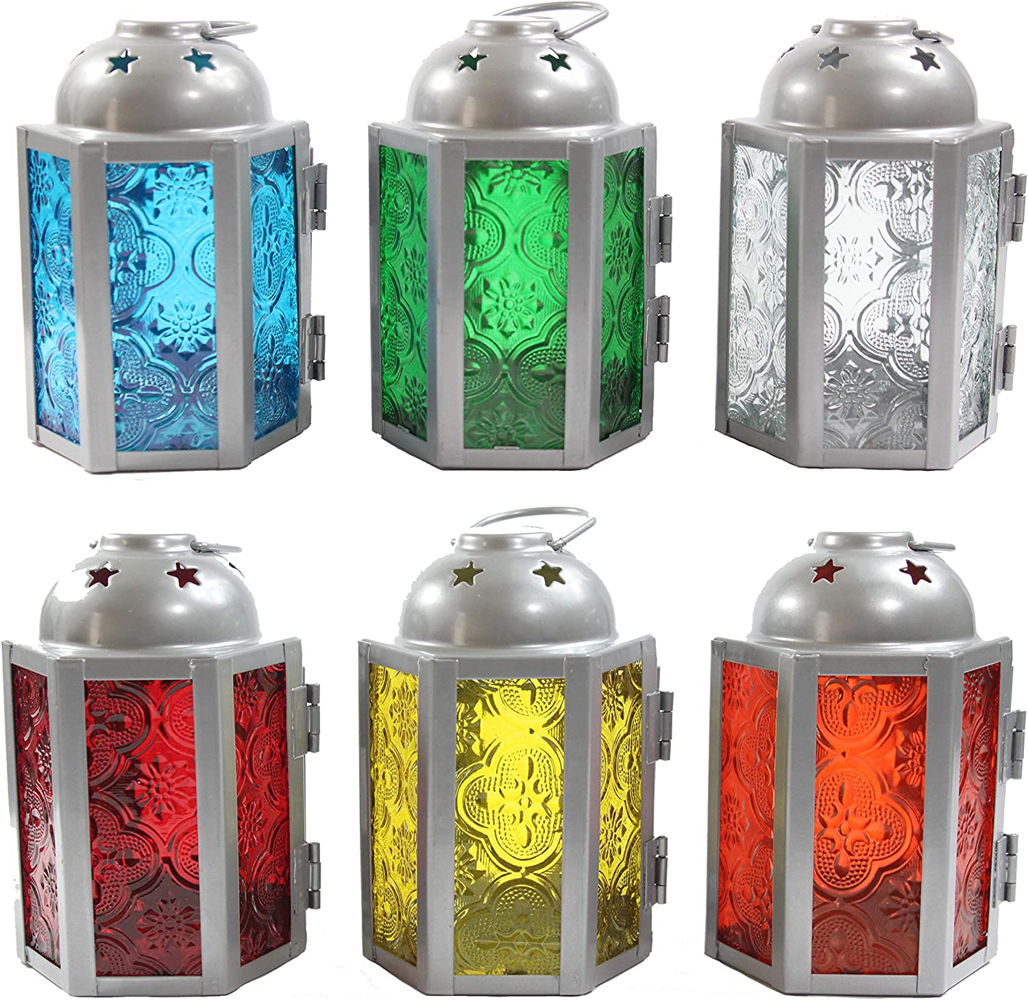 Vela Lanterns 6pc Assorted Mini Moroccan Tealight Candle Lantern