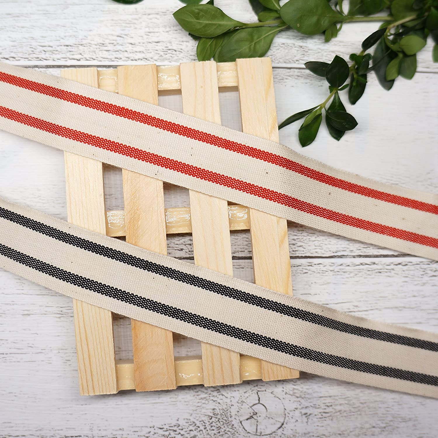 x 10 Yard.Decorative for DIY Crafts and Gift Wrapping Ivory//Red 26mm Natural Cotton Stripes Ribbon 1 inch