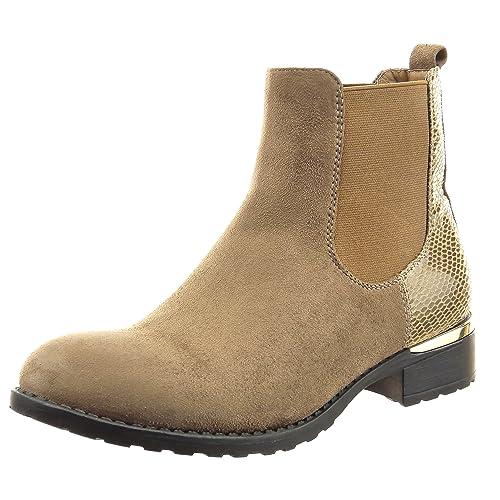 Sopily - Zapatillas de Moda Botines chelsea boots Tobillo mujer piel de serpiente Talón Tacón ancho 3.5 CM - Caqui FRF-6-357 T 41: Amazon.es: Zapatos y ...