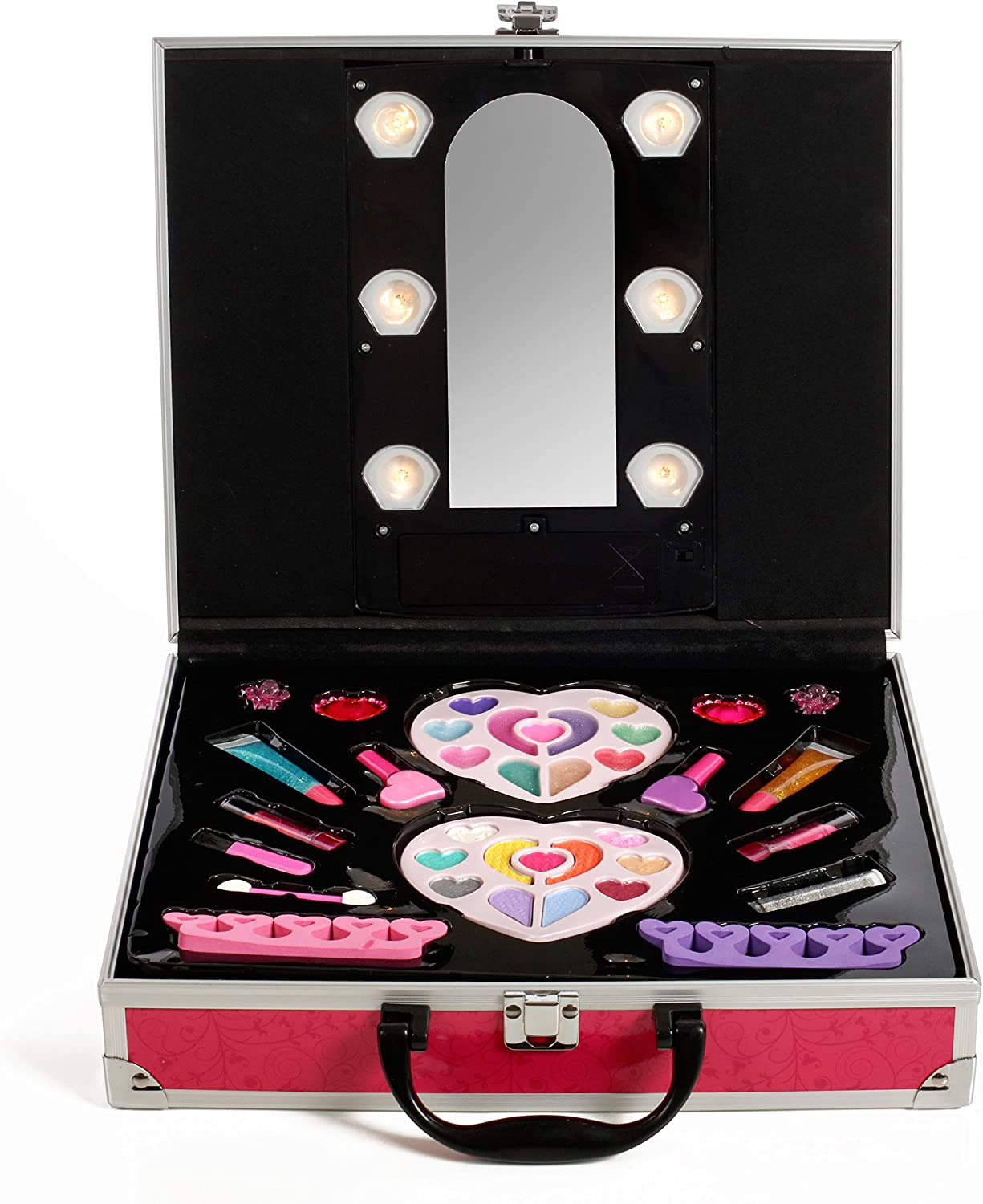 IQ Toys Pretend Play Makeup Cosmetic Set for Princess Girls in Sturdy Hot Pink Case with Built in Lights and Mirror, Non-Toxic, Washable Makeup Kit
