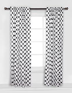 bacati dotspin stripes black large dots curtain panel
