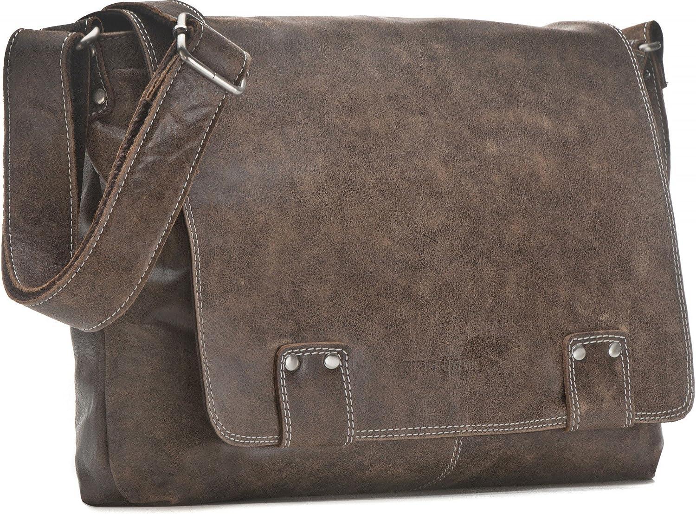 Leder Umh/ängetasche Herren Damen Messenger Bag Leder DIN A4 Ledertasche schwarz braun Cognac grau blau 36 x 30 x 8 cm von REBELS /& LEGENDS