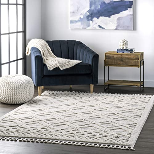nuLOOM Ansley Soft Lattice Textured Tassel Area Rug 6' 7″ x 9' Beige