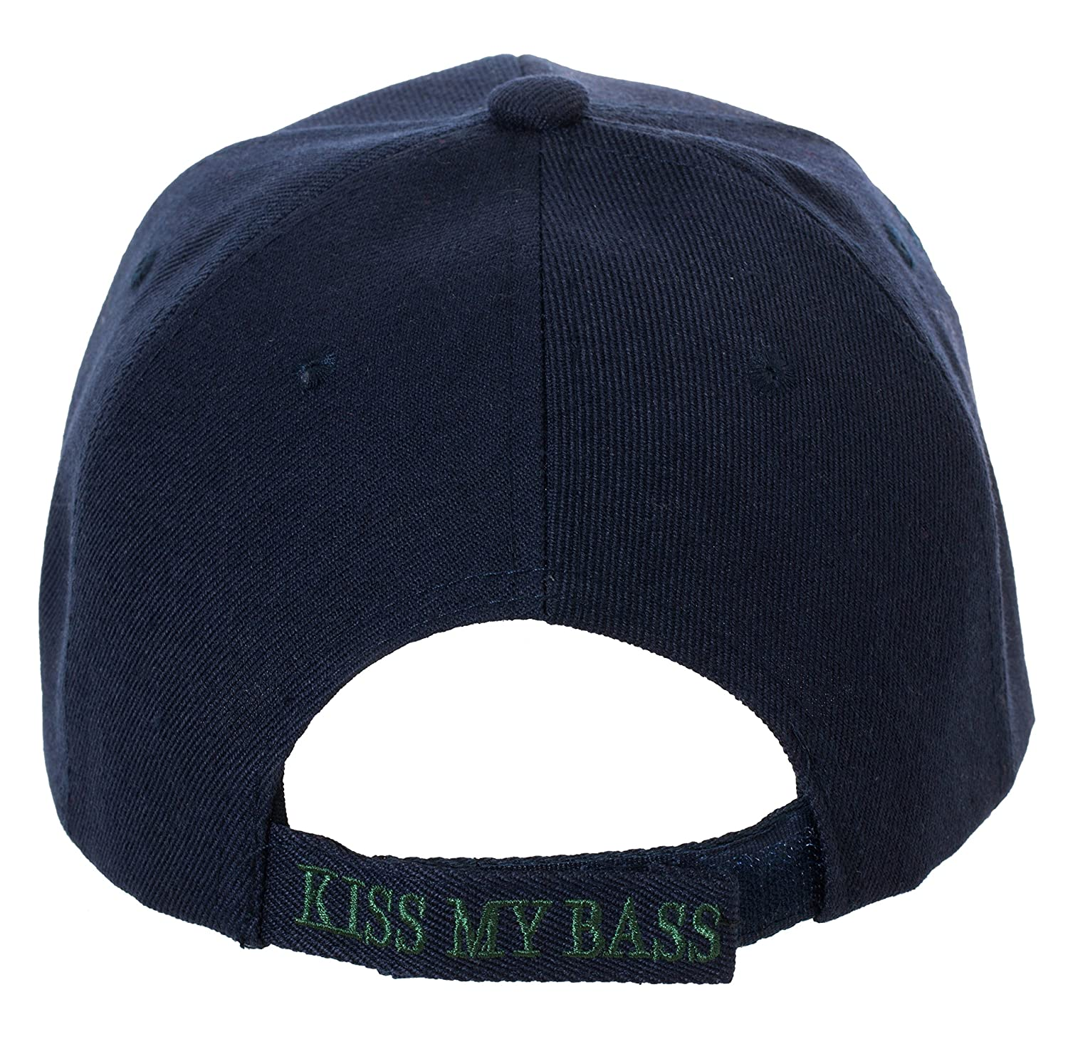 Amazon.com  Kiss My Bass Hat - Funny Fishing Fisherman Gift -100% Cotton  Embroidered Cap (Black)  Clothing a11a6e19e79